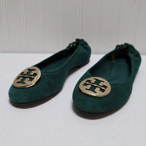 NWOT Tory Burch Green Suede Flats Size 7